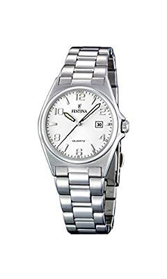 Festina F16375/5 - Reloj analógico de Cuarzo para Mujer con Correa de Acero Inoxidable, Color Plateado de Festina