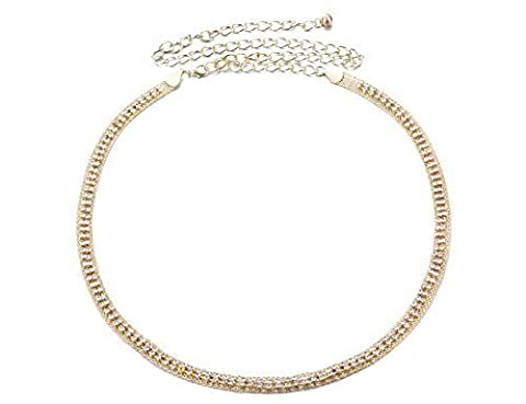 Women's Gold Waist Chain Belt with 2 Rows Diamante Studded Band - Ladies Fashion Accessory with Faux Diamond Gemstone - Ideal for Casual or Semi-Formal Wear - One Size Fits All - Style 522