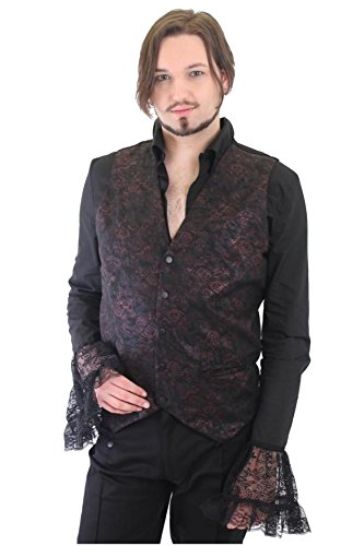 Altissimo Moda -  Gilet  - Senza maniche  - Uomo Black & Iridescent Antique Pink Brocade L