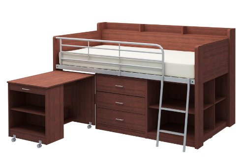 Bett-rail-system (Rack Möbel Clairmont Loft Bett, holz, cherry, twin bed)