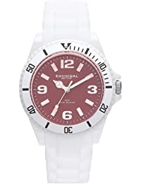 Cannibal Unisex Quartz Watch with Brown Dial Analogue Display and White Silicone Strap CJ209-01H