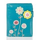 Shagwear Junge-Damen Geldbörse, Small Purse Designs: (Bunter Garten Türkis/Colorful Garden)