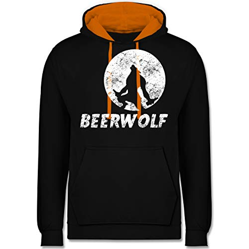 Statement Shirts - Beerwolf - XS - Schwarz/Orange - JH003 - Kontrast Hoodie