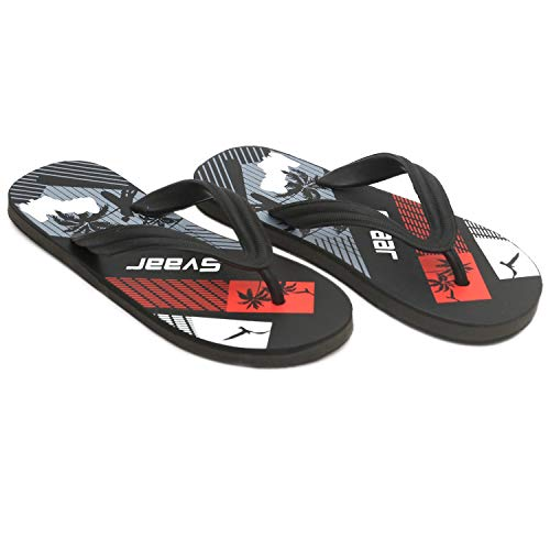 SVAAR® Comfortable Black Slippers for Men (IND-7, Black)