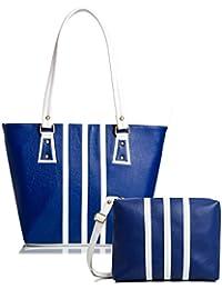 Mammon Women Handbag And Sling Bag Combo (HS-3strip-blu, 40x30x10 CM)