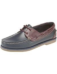 Chaussures de bateau pour les hommes - bleu et brun