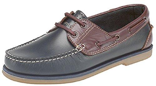 Chaussures de bateau pour les hommes - bleu et brun Bleu