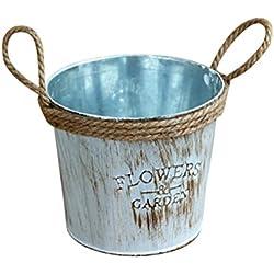 squarex vintage en métal Fût fer Pot de fleur à suspendre balcon Jardin Pot de fleurs Plante Décor Pot de fleurs L:11x12cm multicolore