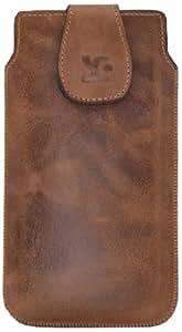Suncase 45782277 Étui d'origine en cuir authentique pour Sony Xperia Z1 (Honami) Vieux brun rouille