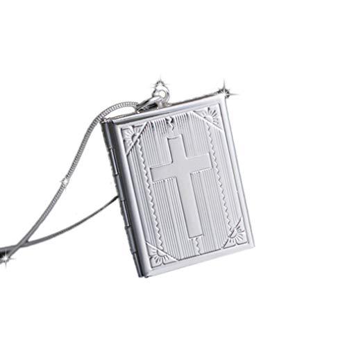 Sevenfly Quadratische Form Uhr Phase Box Halskette Charme Schlüsselbein Halskette Kreuz Muster Anhänger für Frauen (Silber Farbe one Size) -