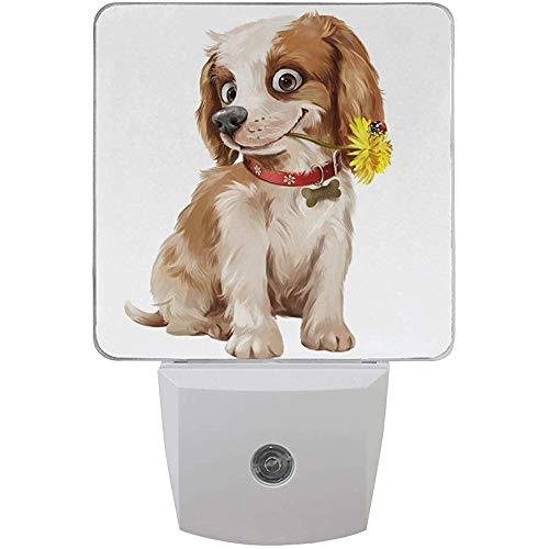Katrine Store Happy Puppy Flower Night Light Plug in per bambini Neonati, luci notturne Auto Motion Senor per bagno in camera da letto