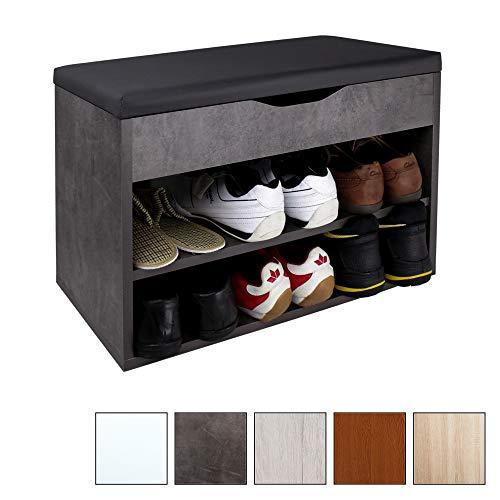 Ricoo scarpiera da ingresso wm032-bg-a armadietto armadio con scaffale e scompartimenti panca sedile comodo scarpe ripiano cuscino cassapanca organizer portascarpe salvaspazio in legno grigio cemento