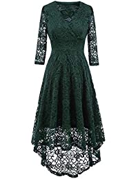 NALATI Women Summer Dress Vintage Beautiful 50 s Retro Floral Lace Fabric  3 4 Long Sleeve Deep V Neck High Waist High-Low Hip Lace Party… c690be68cce4