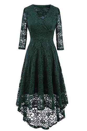 NALATI Women Vintage Beautiful 50's Retro Floral lace Fabric Swing Dress with 3/4 Long Sleeve Deep V