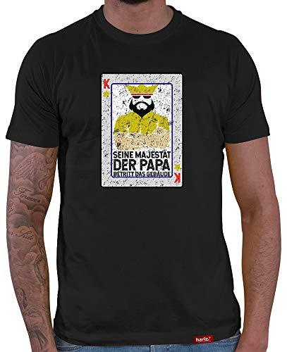 HARIZ  Herren T-Shirt Papa Collection 36 Designs Wählbar Schwarz Vatertag Weihnachten Männer Geschenk Karte Urkunde Papa17 Seine Majestät Der Papa 2 L