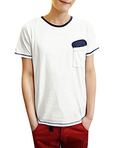 Man Manche Courte Patchwork Rayures Col Rond Moderne Chemise Blanc
