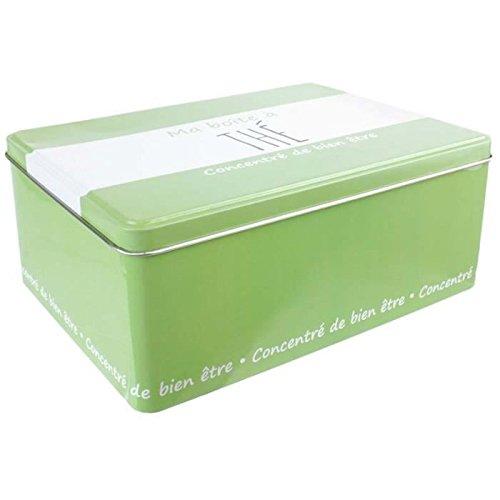 LA BOITE A BT6502 Ma Boîte à Thé Métal Vert 13, 40 x 20, 30 x 7 cm