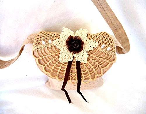 Handmade small beige boho recycled vintage doily shoulder bag - handmade-bags