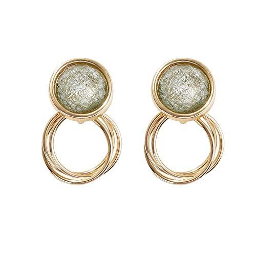 Ohrringe 925Er Sterlingsilber Grünes Glas Kreis Ohrringe Ohne Ohrclip Ohrstecker Weiblich