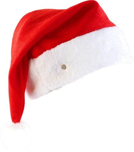 mützen: LED-Nikolausmütze mit leuchtendem Bommel, weiß blinkend (Weihnachts-Mütze) (Flauschige Nikolausmütze)