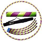 Pro Hula Hoop Reifen Erwachsene (Lila/Gelb UV) Zerlegbarer 4 piece Travel Hula Hoop für Training u. Tanz HoopDance - Größe 100cm, Gewicht 650g
