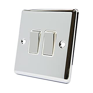 Light Switch 2 Gang Polished Chrome - Classic - White Insert Metal Rocker Switches - 10A Double 2 Way