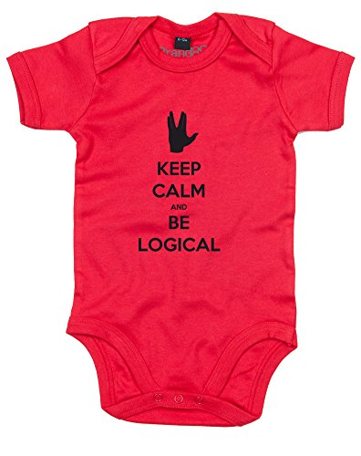 (Keep Calm and be Logical, Gedruckt Baby Strampler - Rote/Schwarz 12-18 Monate)