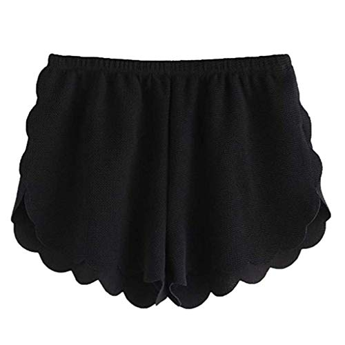 Xmiral Shorts Hose Damen Elastische Taille Kurz Hosen Einfarbig Überbackene Schneiden Sporthosen Freizeit Mode Wilde Persönlichkeit Hosen(Schwarz,XXL)