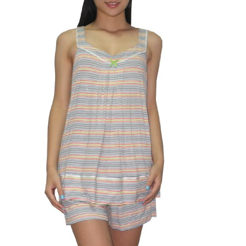 2pc-schlafanzuge-set-kensie-damen-pajama-top-shorts-set-large-mehrfarbig