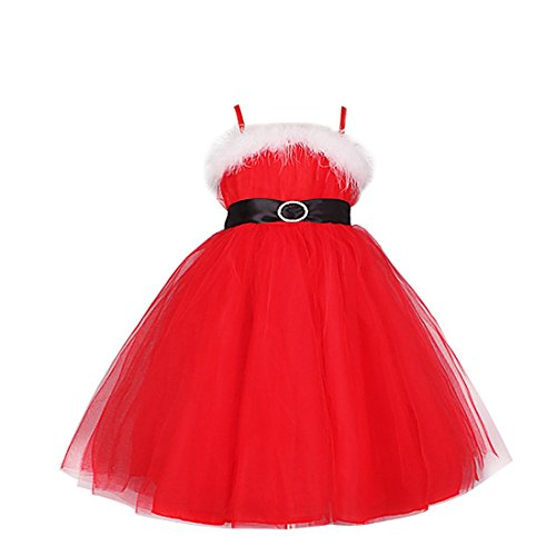 YiZYiF Mädchen Kleider Kinder Prinzessin Kostüm Weihnachten Nikolaus Kostüm Cosplay Hochzeit Party Weiß + Rot 104-110 (Herstellergröße:120)