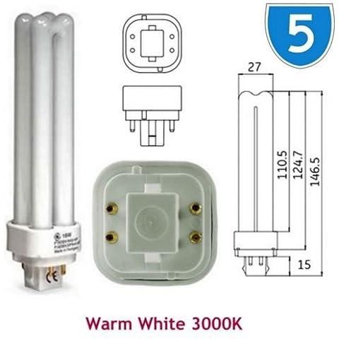 5x GE 12866Biax D/E 4P G24q-2, 18W Risparmio Energetico 4pin, colore: bianco caldo 3000K lampadine PLC PL Lampadina f18dbx/spx30/830/4P