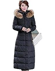 lange Down Jackenmantel Outwear Daunenjacke Wintermantel Warm Damen Frauen Groß Größe Groß Pelzkragen Schlank Dick schwarz
