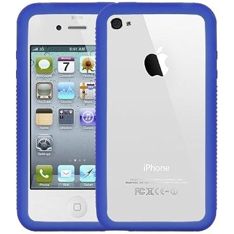 Logotrans Burl Series - Carcasa de silicona para Apple iPhone 4, color azul