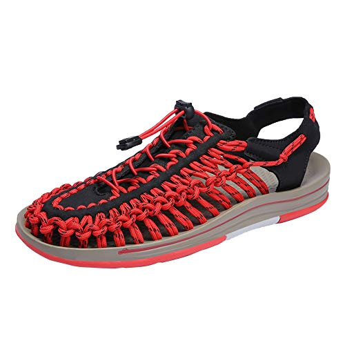 HILOTU Herren Slip On Style Stoffgurte Gummiband Handmade Durable Schuhe Sport Atmungsaktive Sandalen Outdoor Walking Sommer Hausschuhe Leichte Shock Proof Hausschuhe (Color : Rot, Größe : 40 EU)