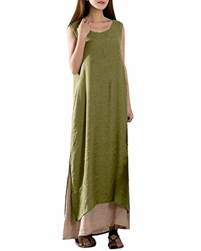 Jinyouju - Robe - Femme petit Green Sleeveless