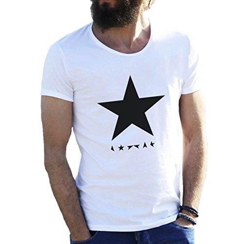 Black Star David Bowie Herren T-Shirt weiße