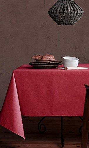 DuPont® Nappe en lin coton anti-taches modèle lin naturel résiné et avec téflon 150x250 rouge