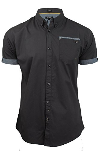 Firetrap Mens Poplin Shirt by Lanover' Short Sleeved - Slim Fit