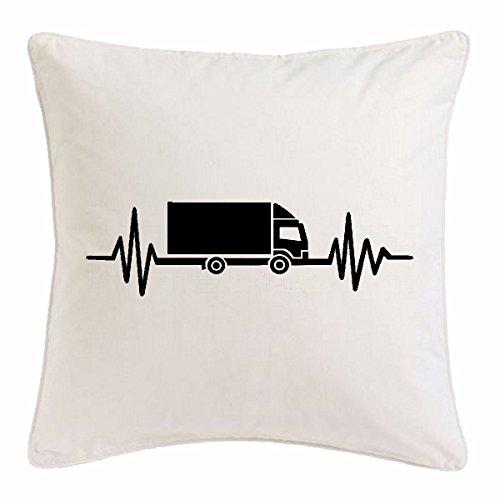 Reifen-Markt Kissenbezug 40x40cm Herzschlag LKW Fahrer - Trucker - Fernfahrer - NAHVERKEHR - FERNVERKEHR aus Mikrofaser in Weiß