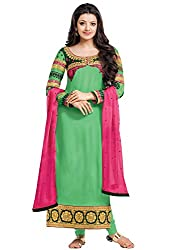 Georgette Straight Fit Dress Material (DV179-46014_Green)