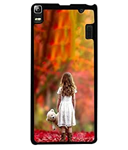 Fabcase cute little kid playing with teddy bear beautiful leaves white dress friends Designer Back Case Cover for Lenovo K3NOTE