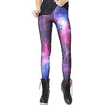 AONER- Leggings Leggins de Colores Estampados Push up Pantalones Elásticos Deportivos para Mujer