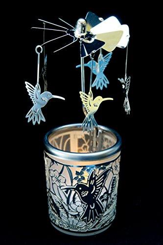 Pyramide/ Rondell silber Teelichtglas im Geschenkkarton SET inkl. Dufthänger (Kolibri) -
