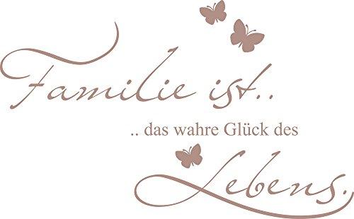 GRAZDesign 300121_40_WT823 Wandtattoo Familie ist Das Wahre Glück… als Wand-Dekoration | Wand-Aufkleber für Wohnzimmer | Wand-Sprüche Selbstklebend (65x40cm//823 Antique Violet)
