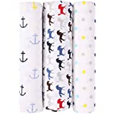 haus & kinder Blue Horse Collection Cotton Muslin Swaddle Wrap for New Born Baby (Pack of 3, Anchor + Horse + Dots)