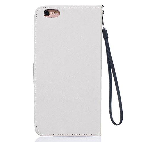 Etui iPhone 6 plus, Housse iPhone 6S plus, Aeeque® Pochette Portefeuille [Noir] Coque de Protection en Cuir avec Plume Motif pour Apple iPhone 6plus/ 6Splus (5.5 pouces) - Dream Comes True Pissenlit et Amour Blanc