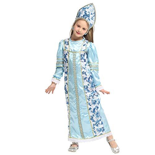 QUNSHIANK Mädchen Partykleid Kinder Weihnachten Performance Kleid arabische russische Prinzessin Kleid Mädchen Jungen Halloween Cosplay Kostüm 4-12 Jahre (Farbe : Photo Color, größe : - Arabische Schönheit Kostüm