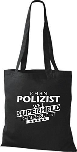 Shirtstown Stoffbeutel Ich bin Polizist, weil Superheld kein Beruf ist schwarz