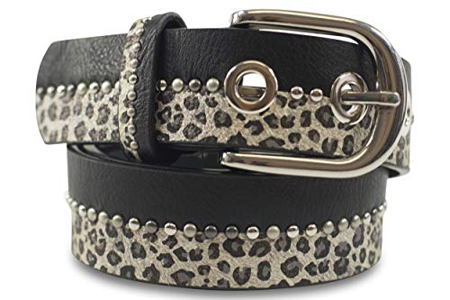 FashionCHIMP Cinturón con estampado de leopardo para mujeres con tachuelas, ancho 3,3 cm (Leopardo-Negro, 105/BW90)
