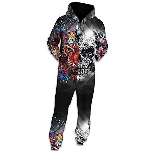 Morbuy Herren Jumpsuit Jogger, Unisex Herren Kapuzenpullover Strampelanzug 3D Printed Onepiece Sweatshirt Männer Strampler Weich Nachtwäsche Fitness Bekleidung (L, Schädeltiger) -